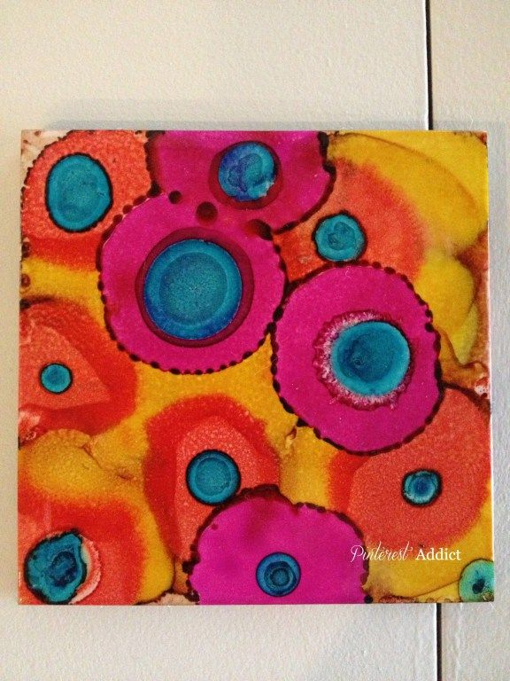 Splotches, alcohol ink tile coasters