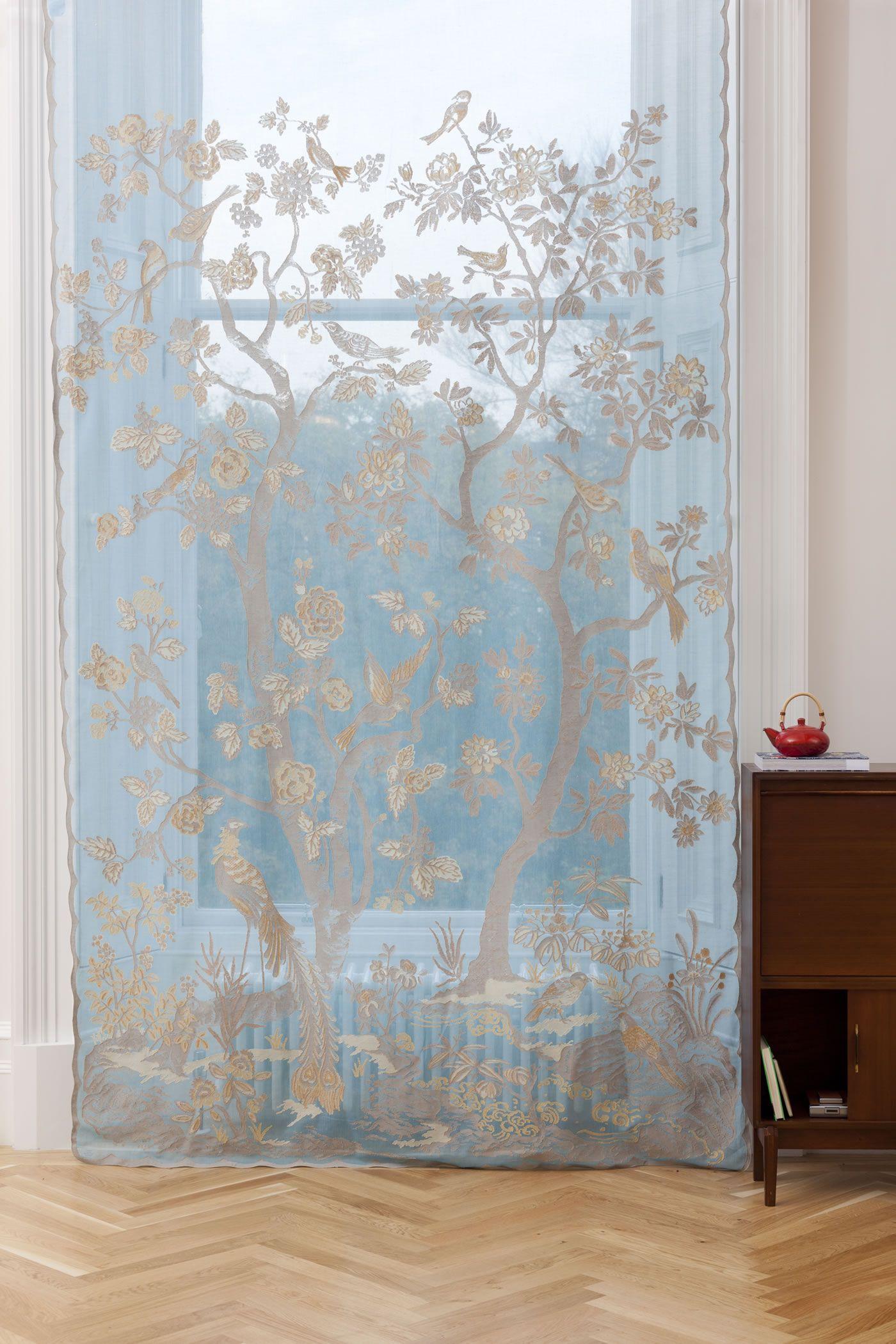 MYB Textiles Paradiso Turquoise pamut csipke függöny   Csipkemester - pamut csipkefüggönyök Skóciából