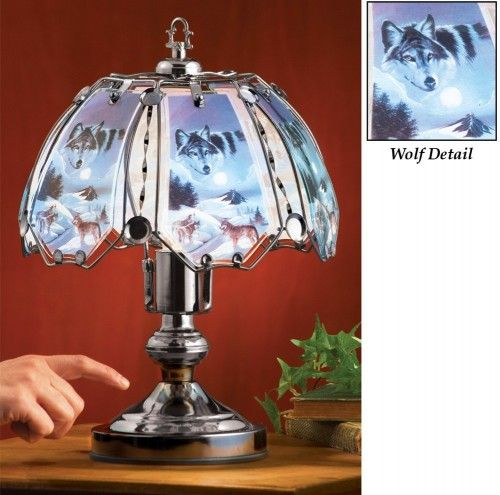 Howling Wolf Tabletop Glass Touch Lamp | whiteorchidhome ...