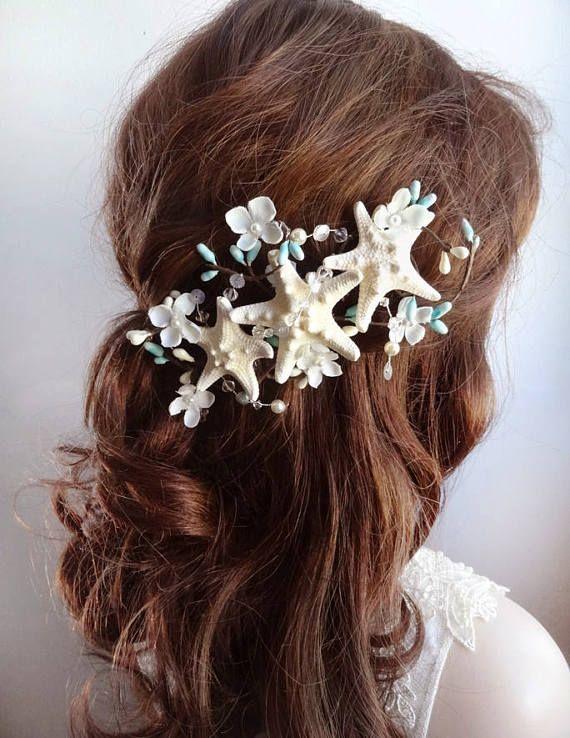 starfish hair clip starfish hairclip starfish hair piece seashell hair accessories beach wedding