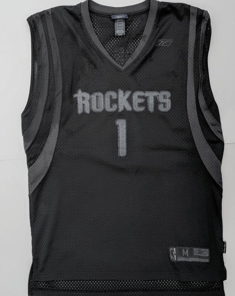 64bf14761 Houston Rockets NBA M Jersey Black on Black Stitched Blackout McGrady  1  Reebok  Reebok  HoustonRockets