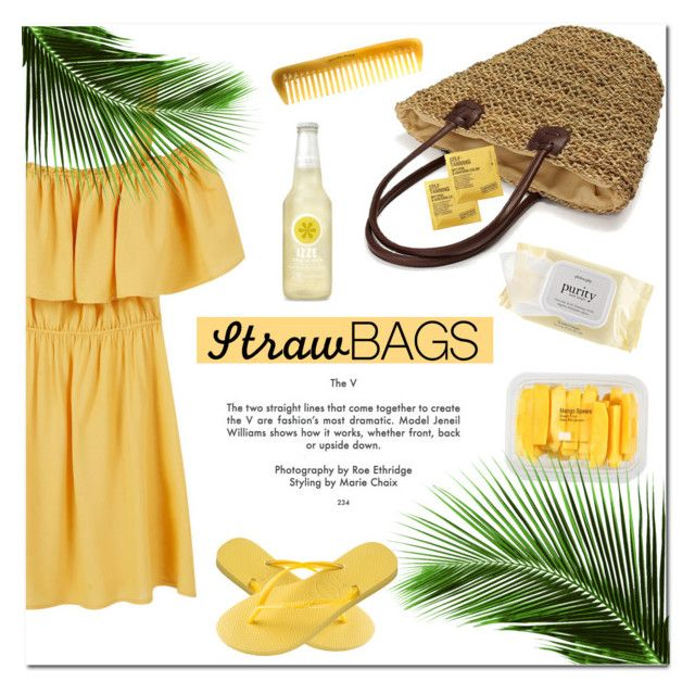 """""""Straw Bag"""" by cafejulia ❤ liked on Polyvore featuring MANGO, Comodynes, Hermès, philosophy and Havaianas"""