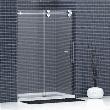 Frameless Glass Shower Doors W Chrome Or Nickel Sliding Hardware Frameless Shower Doors Shower Doors Glass Shower Doors Frameless