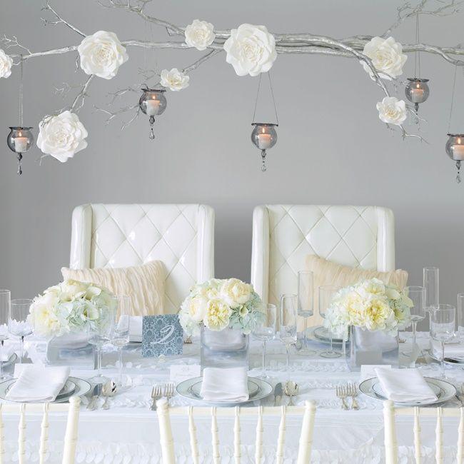 Multiple Wedding Receptions: Rectangular Table, Multiple Flower Arrangements