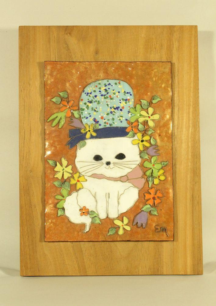 Vtg Edith Meyer Enamel Copper Cloisonne Style Art Kitty Wood Framed ...