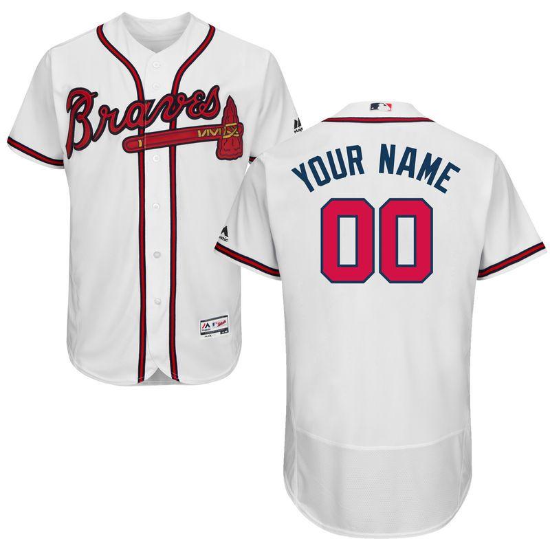 2e9ecc0c1 Atlanta Braves Majestic Home Flex Base Authentic Collection Custom Jersey -  White
