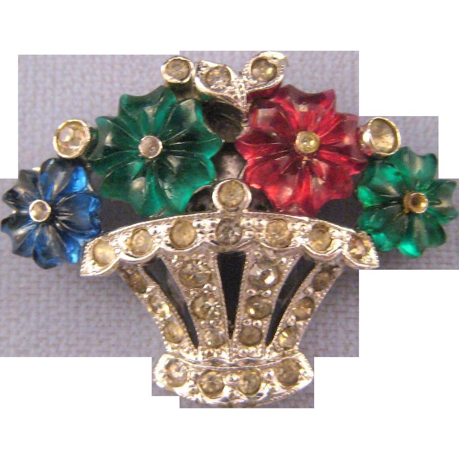 Trifari 'KTF' Pave' Fruit Basket Dress Clip with Three Color 'Fruit Salad' Flowers