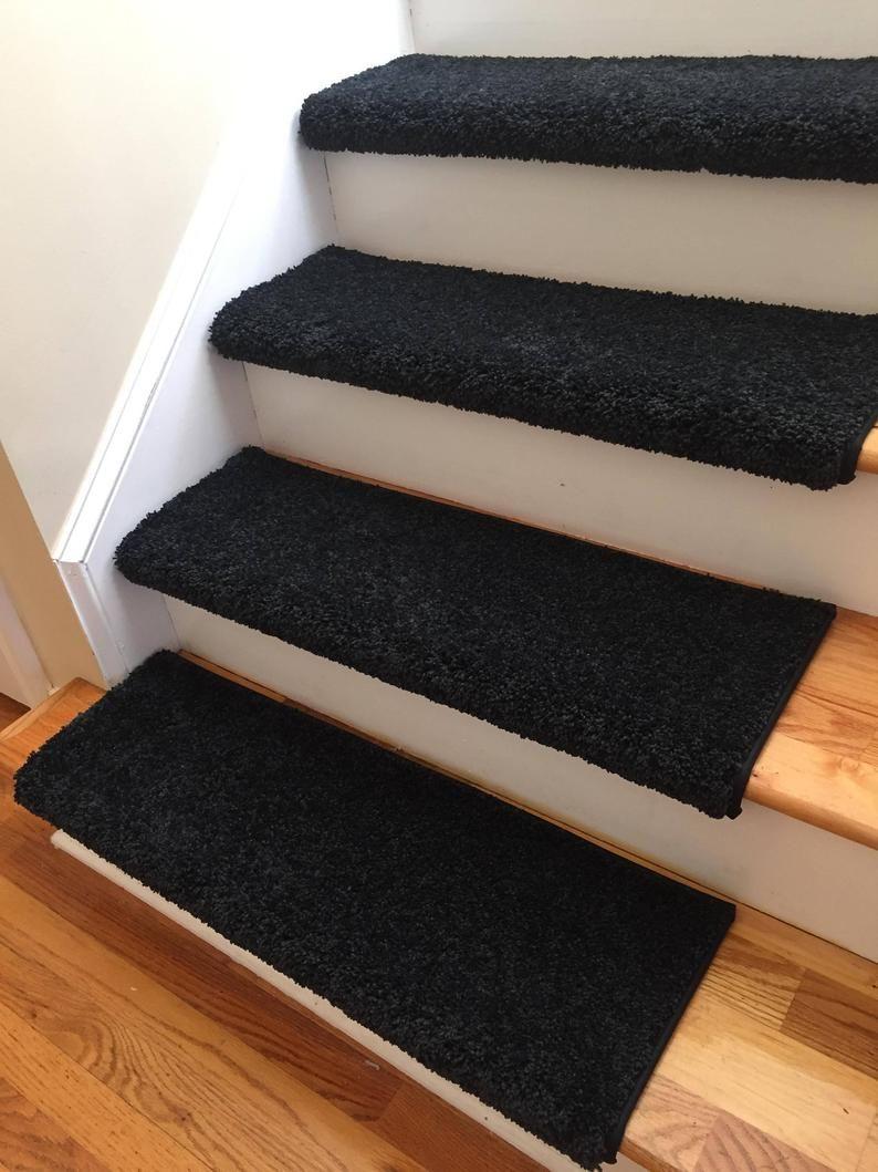 Coal Black True Bullnose Padded Carpet Stair Tread For Etsy In 2020 Carpet Stairs Carpet Stair Treads Black Carpet