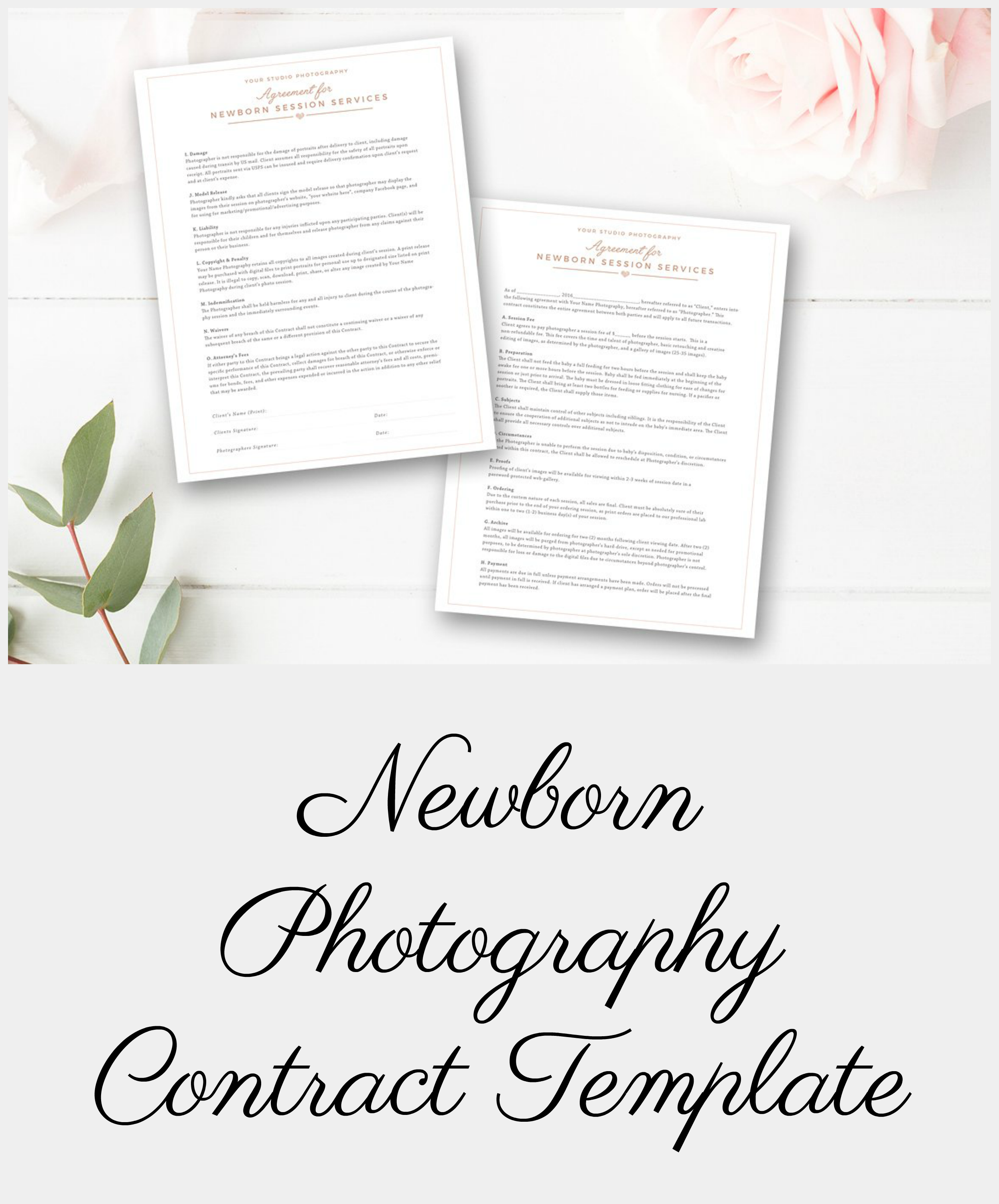 Beautiful And Comprehensive Newborn Photography Contract Template To