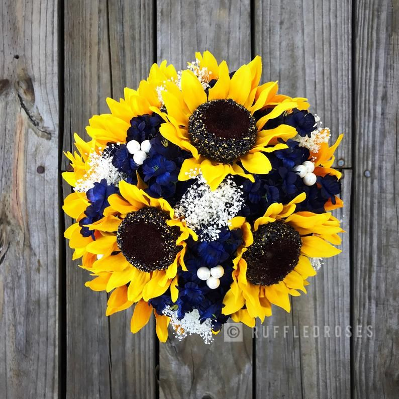 Navy Sunflower Bouquet, Sunflower and Navy Bouquet