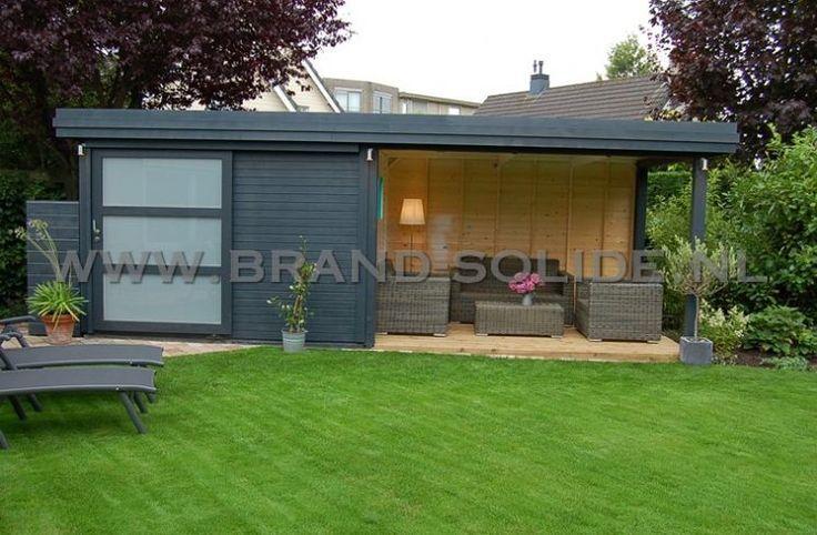 modernes Gartenhaus Flachdach 300 x 300 Markise 300,