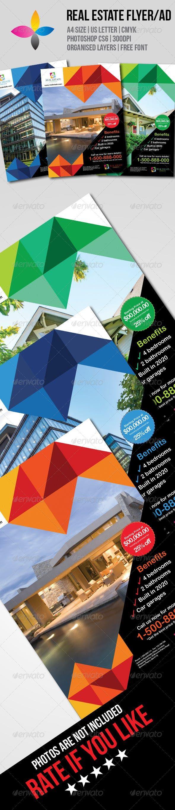 real estate flyer  ad  u2014 photoshop psd  photoshop  land