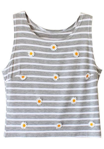 Striped Crop Tank - Grey