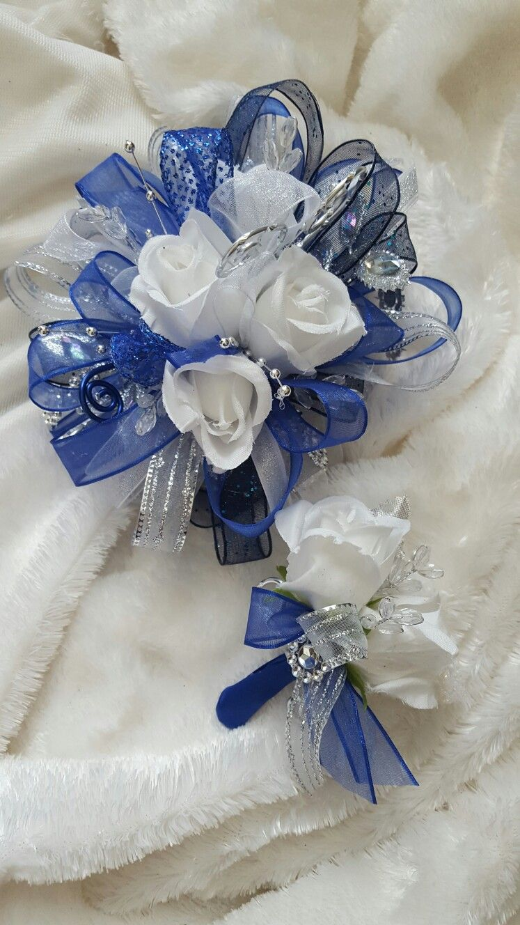 royal blue and white prom corsage from hen house designs