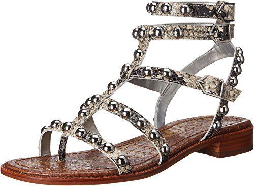 43aa921f952ce Sam Edelman womens eavan putty shiny burmese python print leather sandal