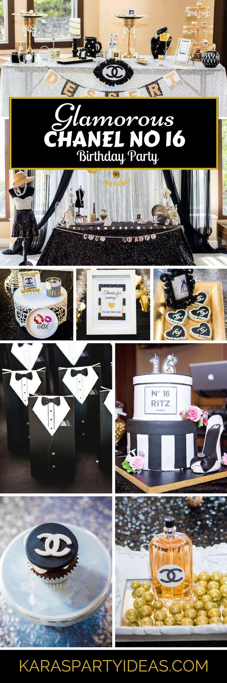 glamorous chanel no 16 birthday party | teen / tween party ideas