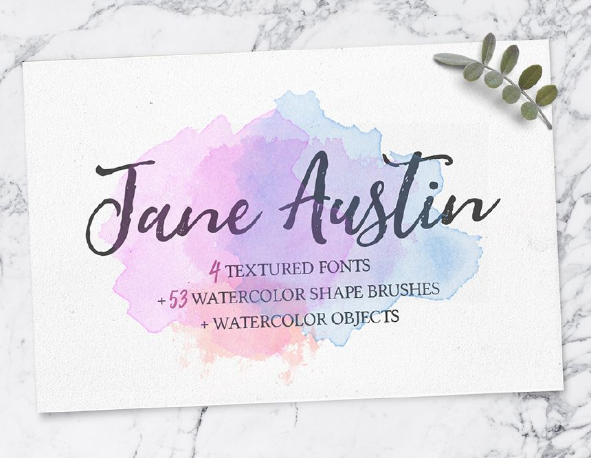 Jane Austin Free Font Family Watercolor Extras Watercolor
