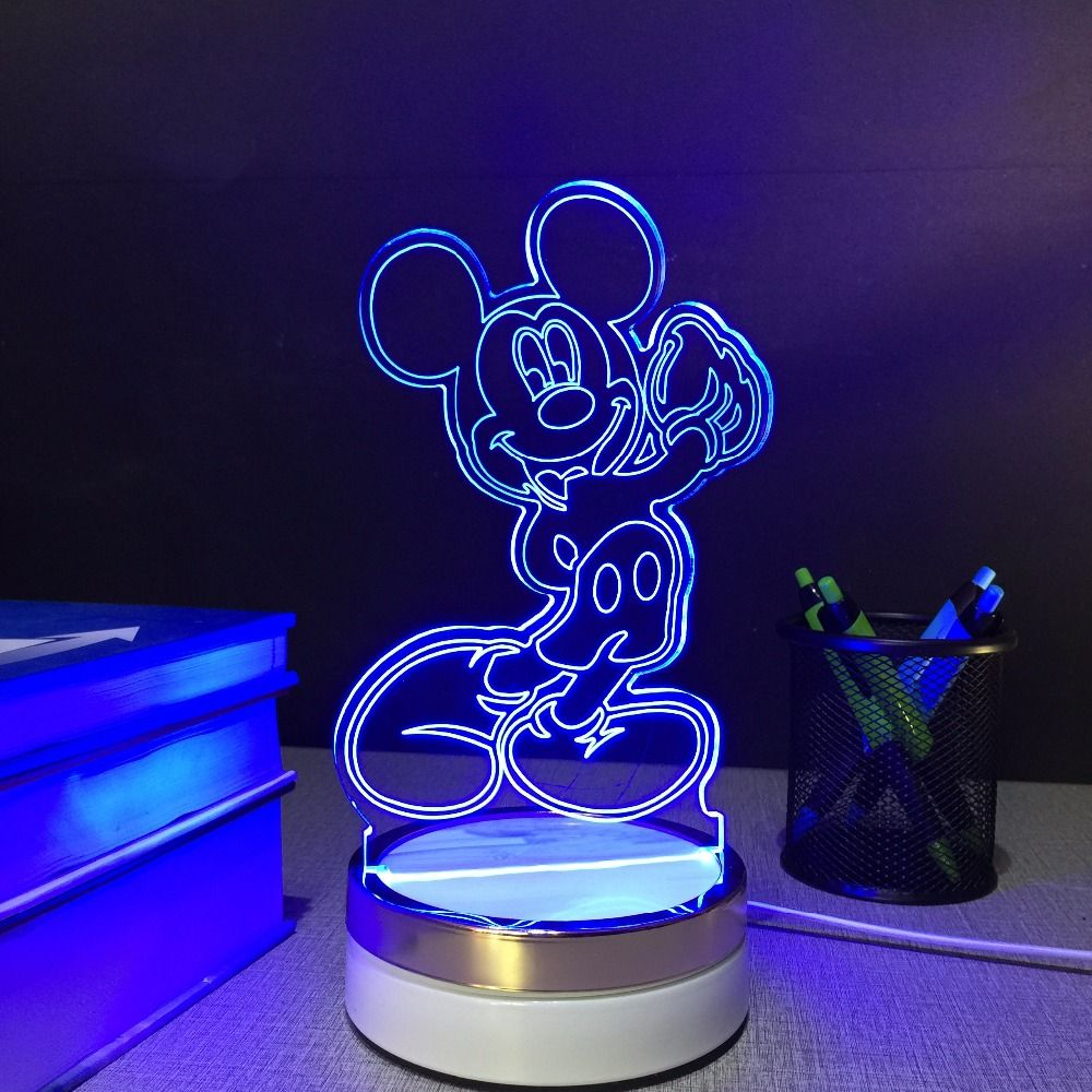 Mickey 3d Night Light Led Color Changing Mickey Mouse Usb Touch Night Lamp 3d Led Night Light Led Night Light Night Lamps