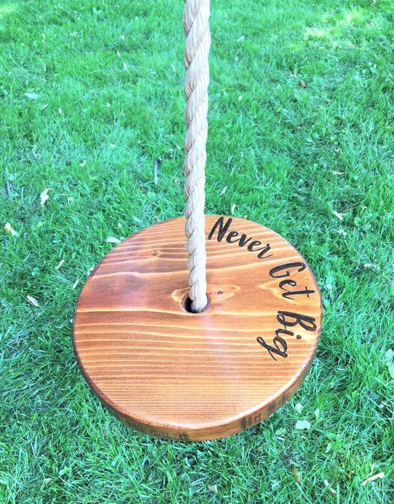 Never Get Big Round Swing Wooden Tree Swing Wooden Rope Swing