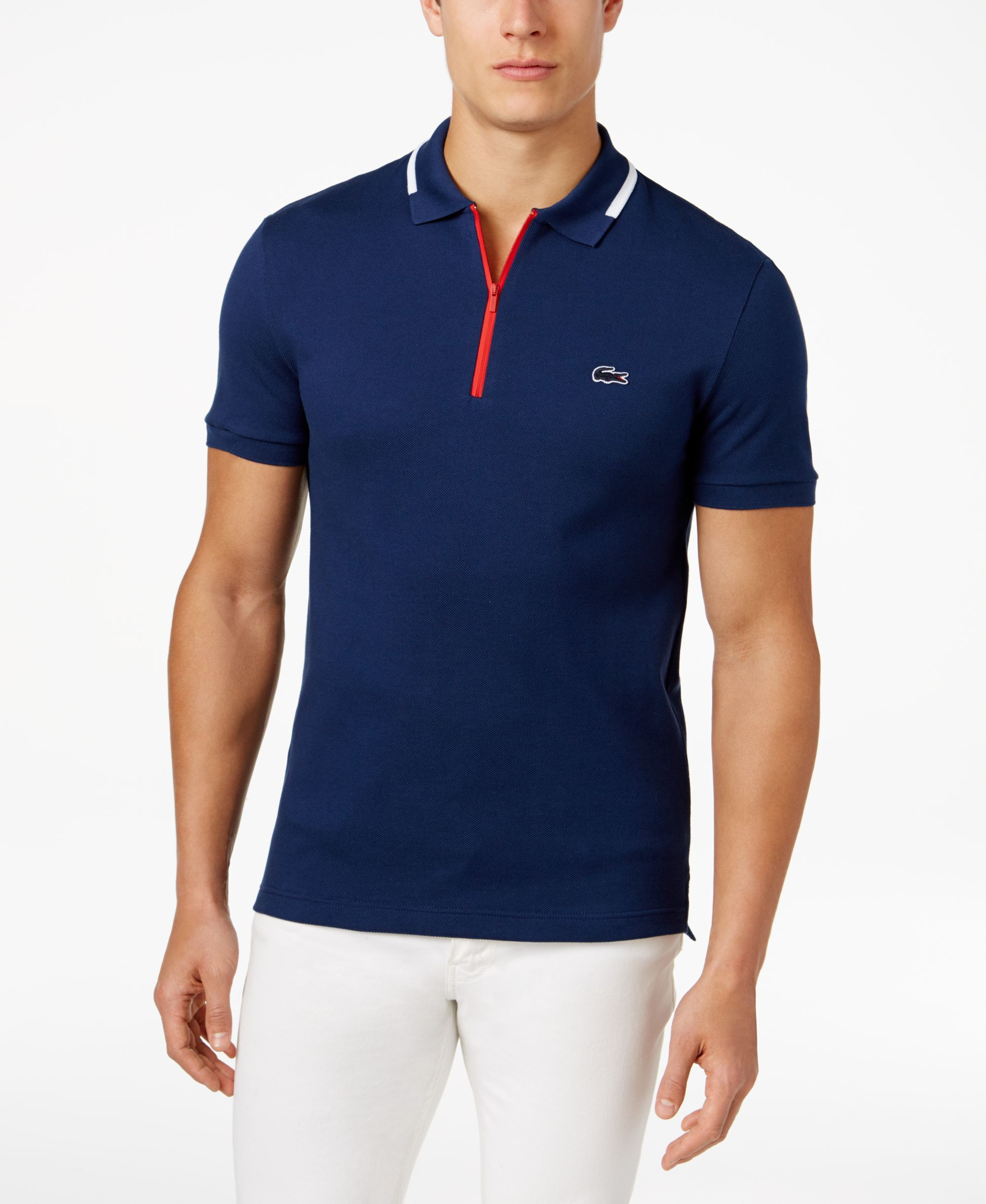 c3ad2e39a4 Lacoste Men's Slim Fit Polo With Zip Pocket, Made in France | TENNIS ...
