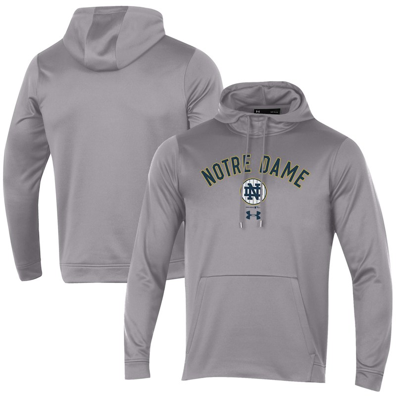 Notre Dame Fighting Irish Under Armour 2018 Shamrock Series Road Fleece  Pullover Hoodie – Heather Gray 8be8a5d59