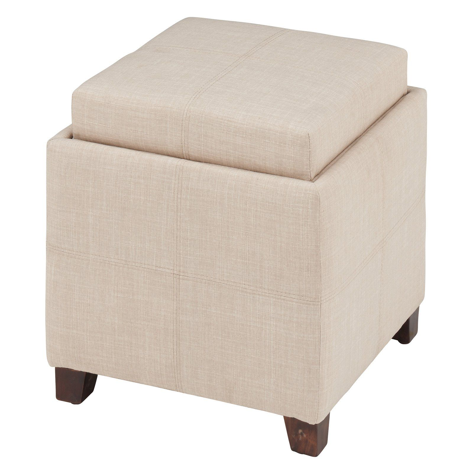 Whi Fabric Storage Cube Ottoman With Reversible Tray Lid 402