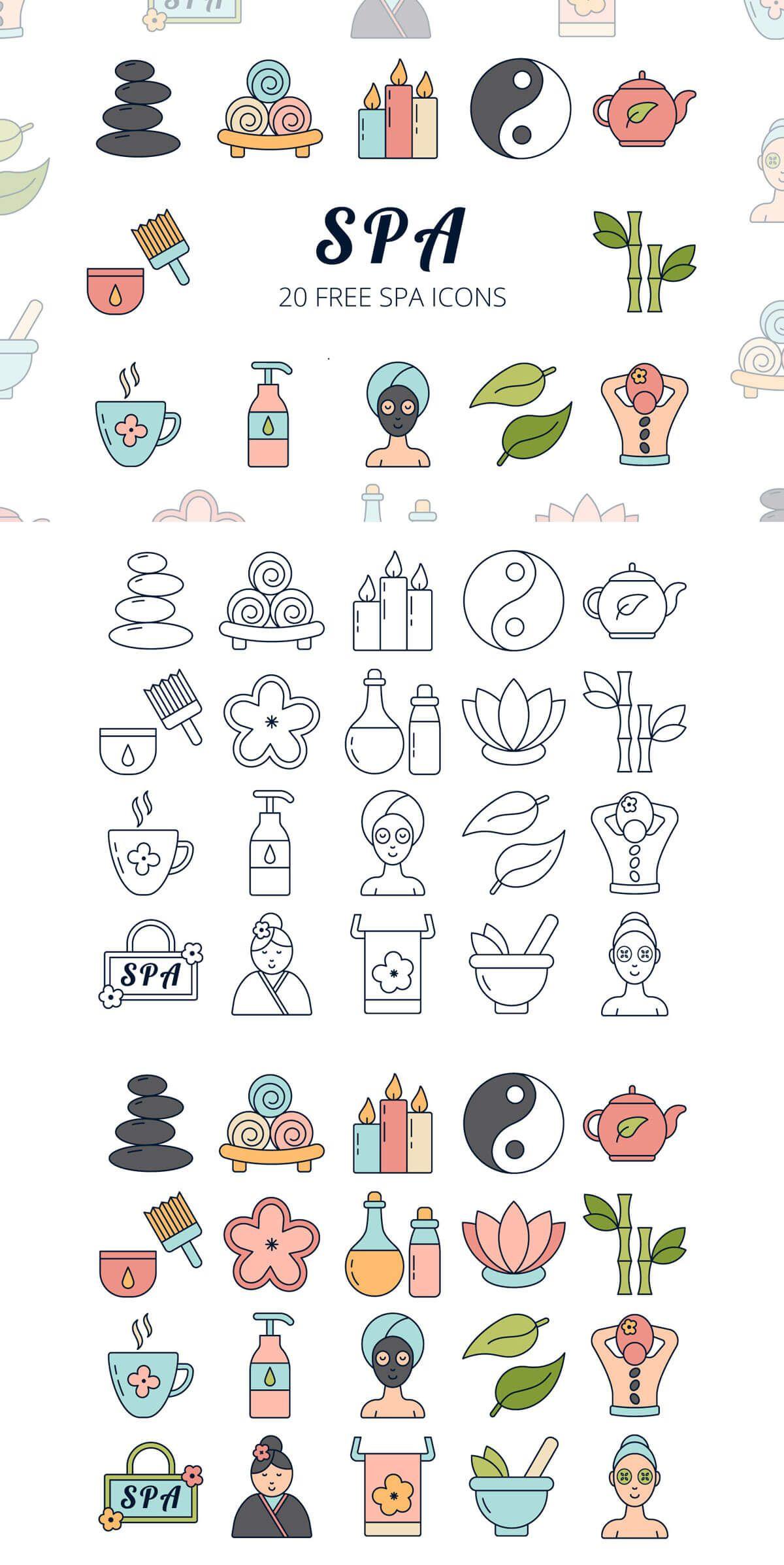 Free Spa Vector Icon Set Icon set, Vector icons, Icon design