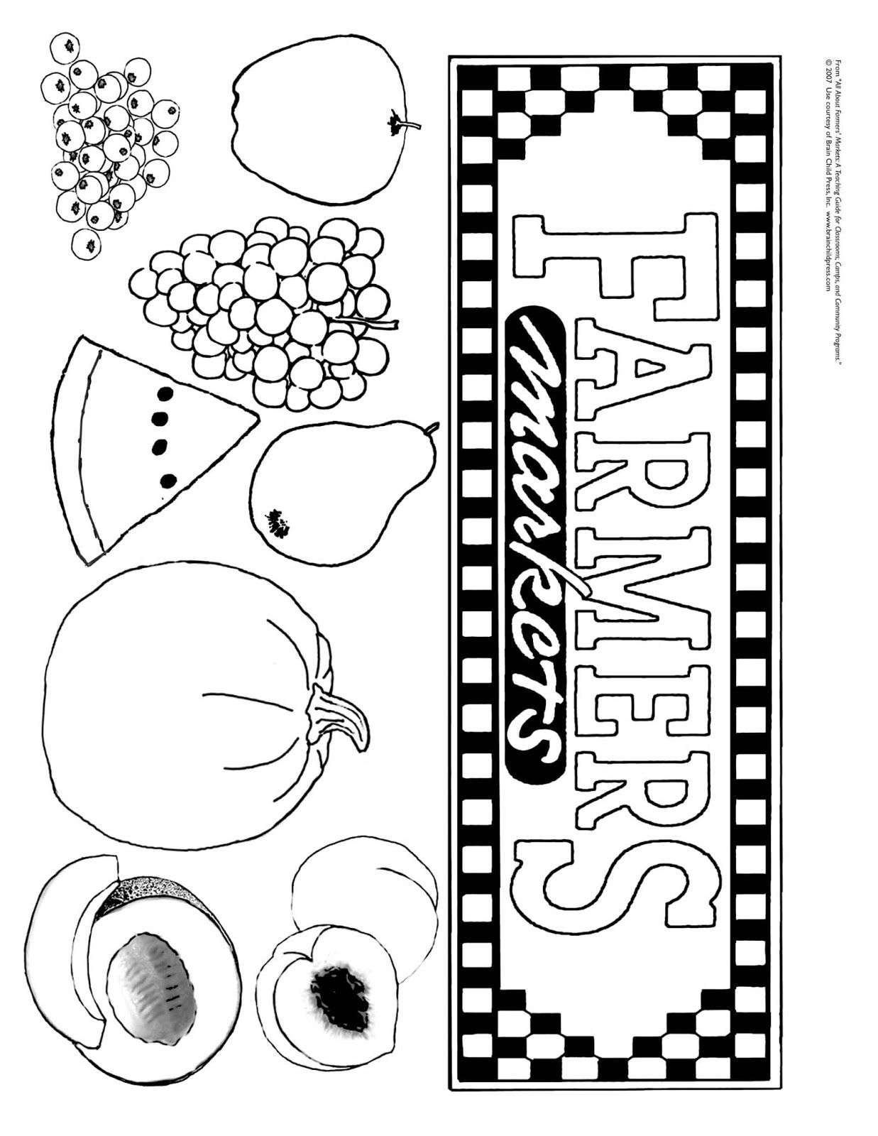 Farmer Market Coloring Sheet Coloringsheet Worksheets