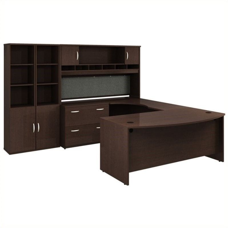 Home Office Furniture Manufacturers: Bush Business Series C Mocha Cherry Executive U-Shaped