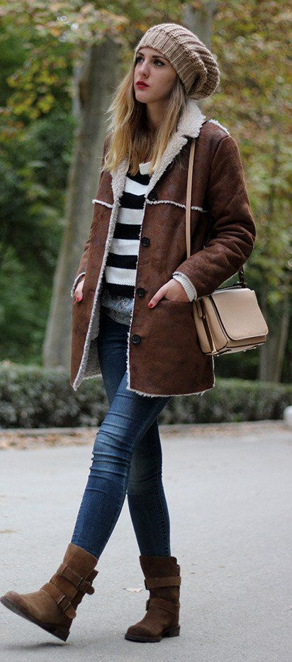 Casual shearling jacket for winter