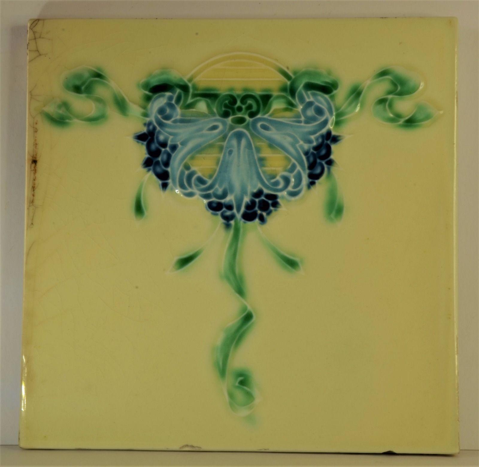 Antique art nouveau ceramic tile antique art art nouveau tiles antique art nouveau ceramic tile dailygadgetfo Choice Image