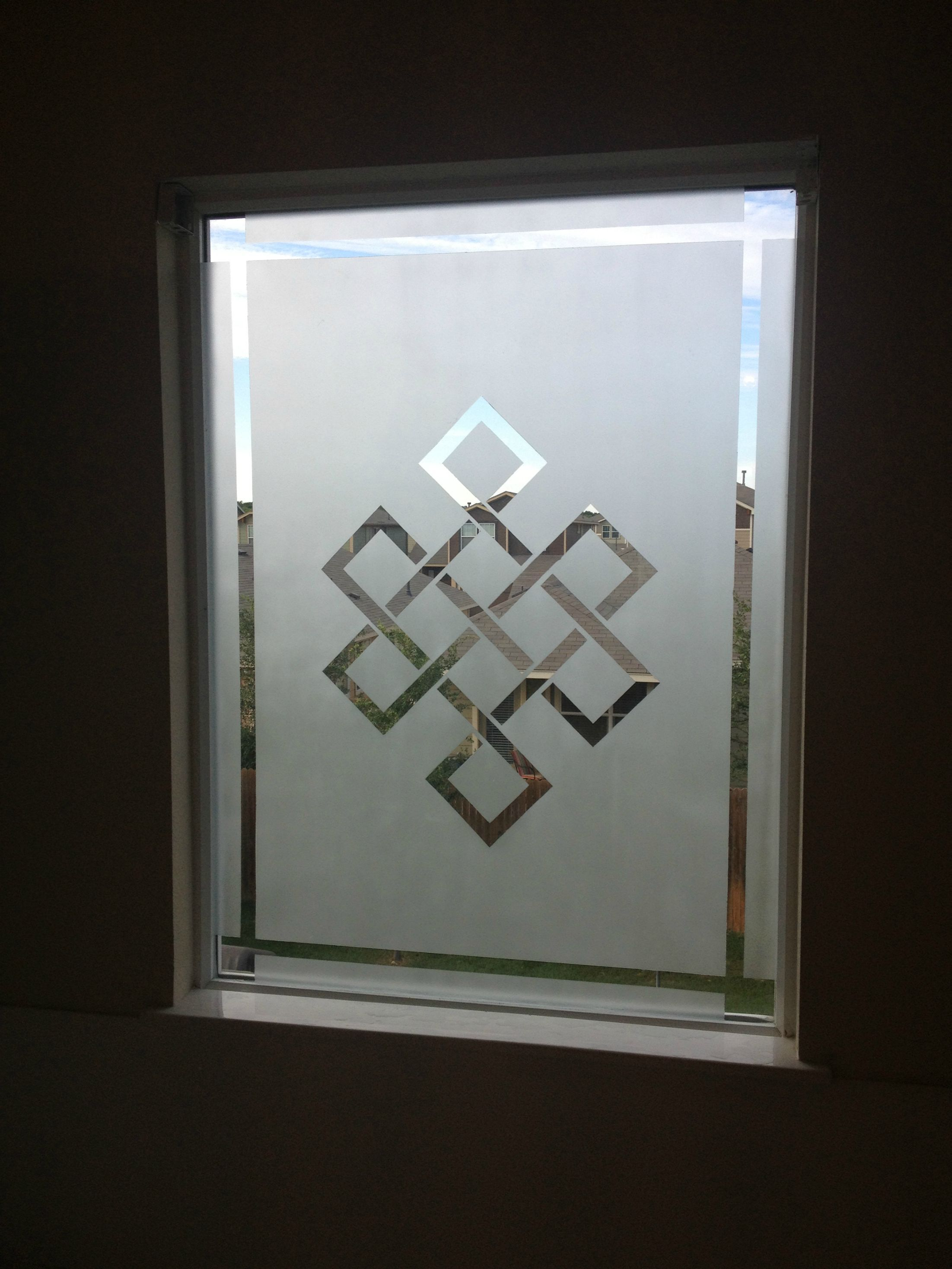 Tibetan Knot design frosted bathroom window. from reddit