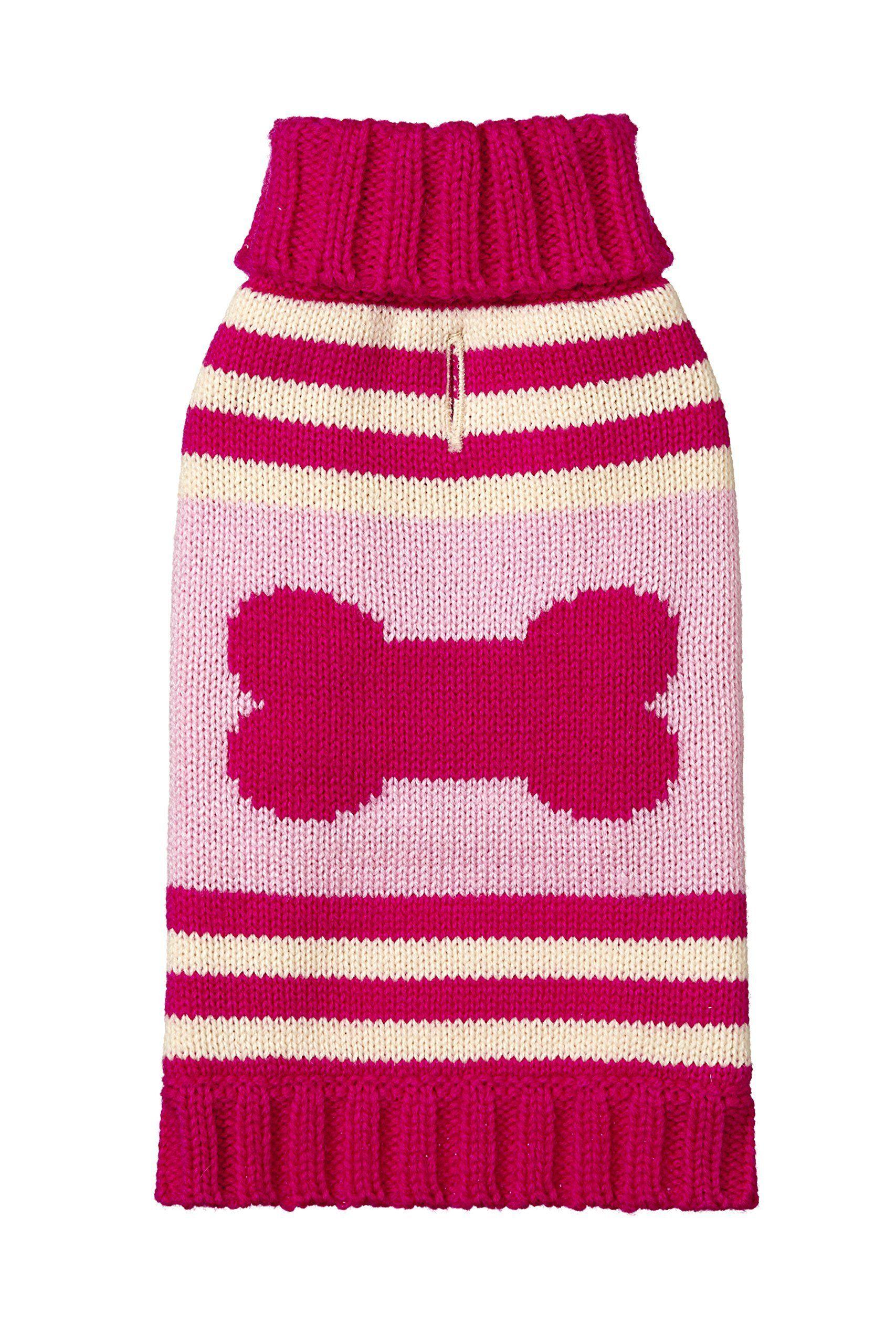 Fab Dog Knit Turtleneck Dog Sweater Striped Bone Hot Pink/Pink 8 ...