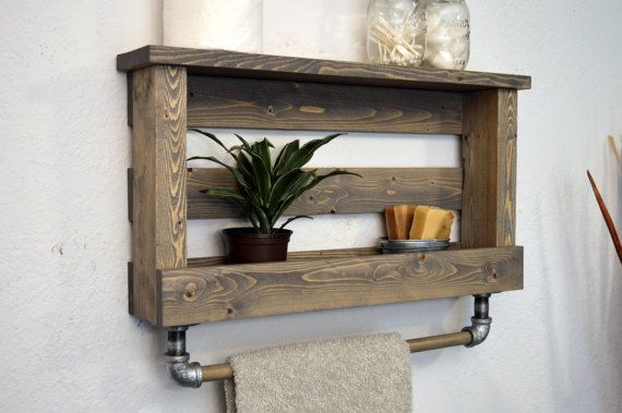 Industrial Bathroom Rustic Shelf with Wood von