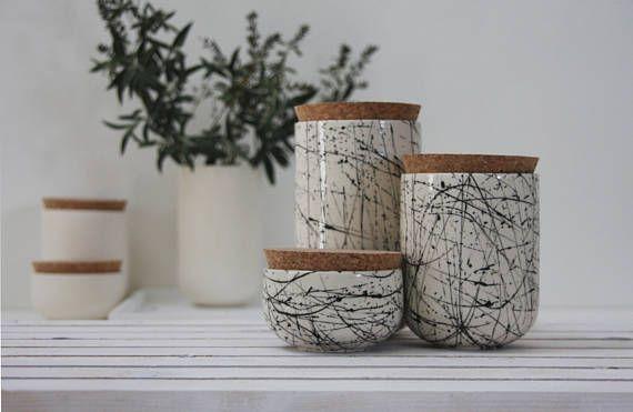 Ensemble En Pots En Ceramique Pot De Stockage Pot Epices Ceramic Jars Ceramics Objects Design