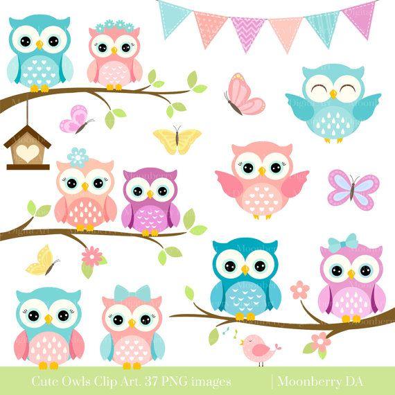Owls Clipart 'CUTE OWL CLIPART' Digital by ...