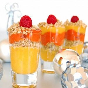 Mango & Raspberry Parfait and more of the best healthy Christmas recipes on MyNaturalFamily.com #christmas #recipe
