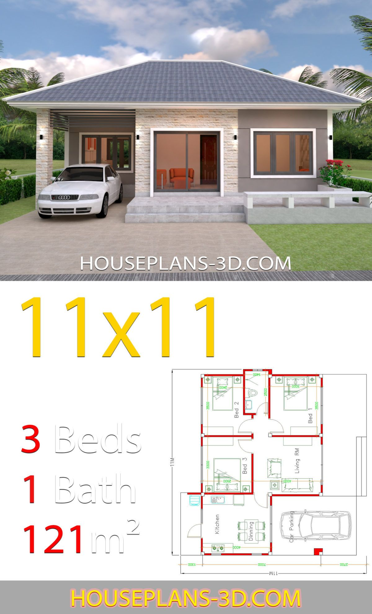 House Design 11x11 With 3 Bedrooms Hip Roof House Plans 3d Simple House Design House Plans Affordable House Plans