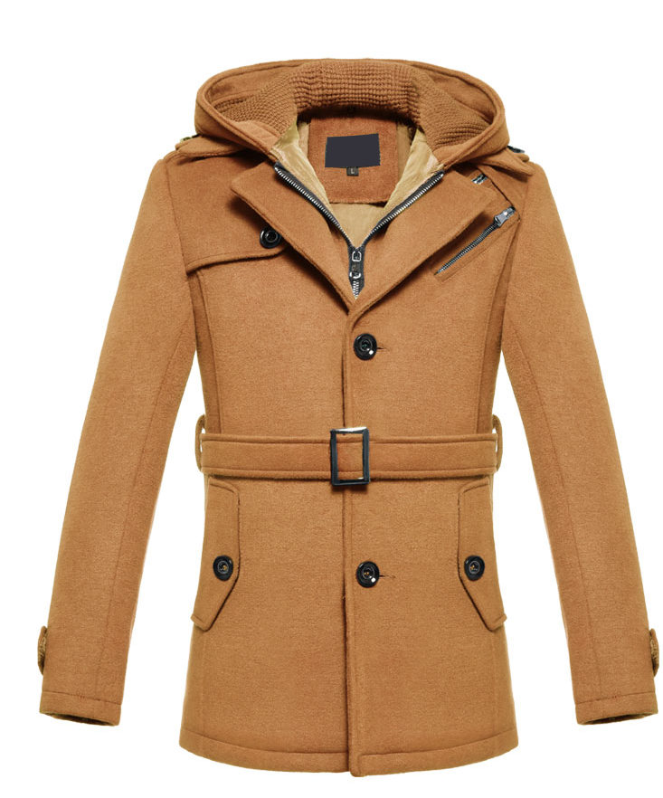 Brilliant Tan Cashmere Wool Blend Hooded Pea Coat | Men Styles ...