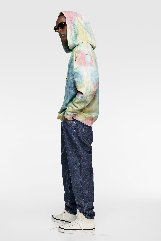Tie Dye Denim Sweatshirt Prints Sweatshirts Man Zara United States Denim Sweatshirt Tie Dye Denim Denim Hoodie [ 2880 x 1920 Pixel ]