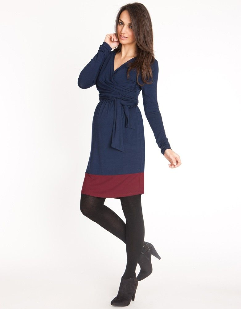 Navy & Claret Maternity Wrap Dress | Seraphine | MARSALA - COLOR ...