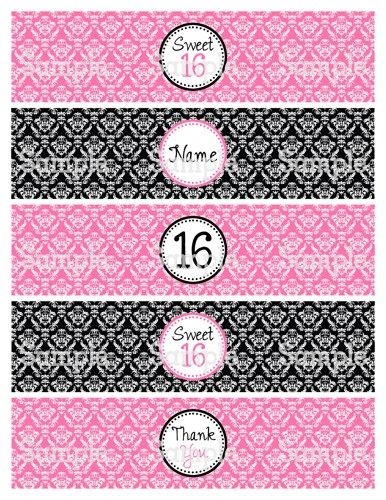 Printable M2m Sweet 16 Pink Black Damask Water Bottle Label Wrappers Printable Party Decorations Sweet 16 Party Printables