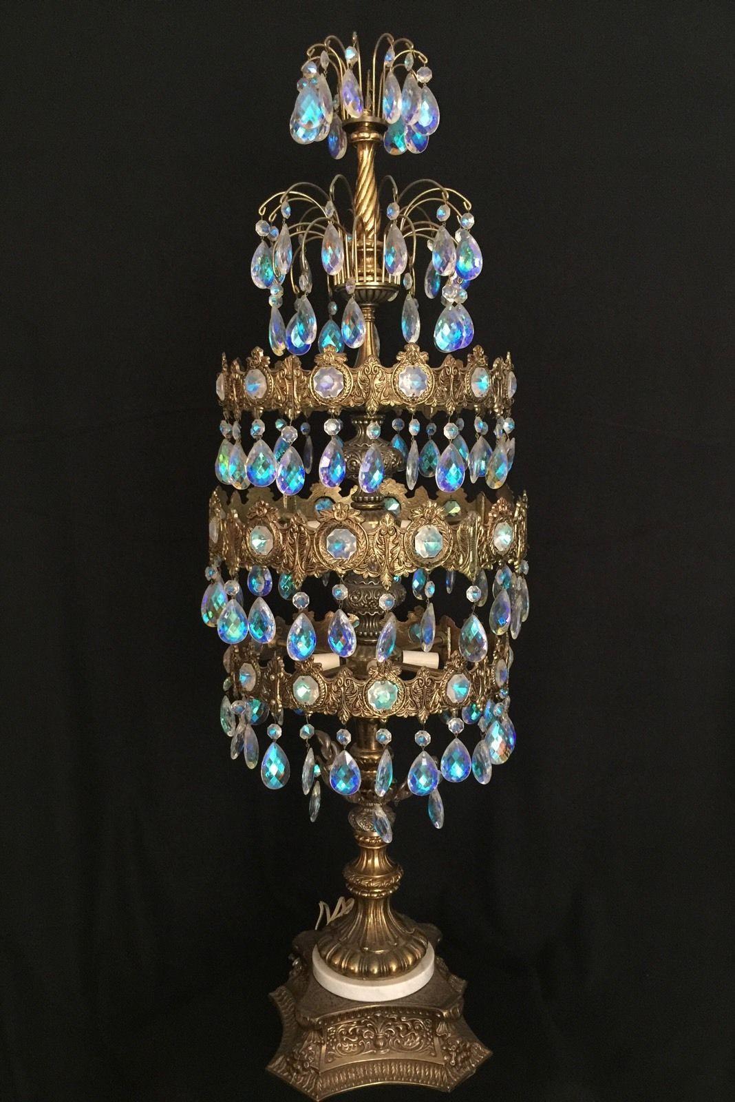 Ll Wmc Loevsky Table Lamp Prism Crystal Hollywood Regency Vintage