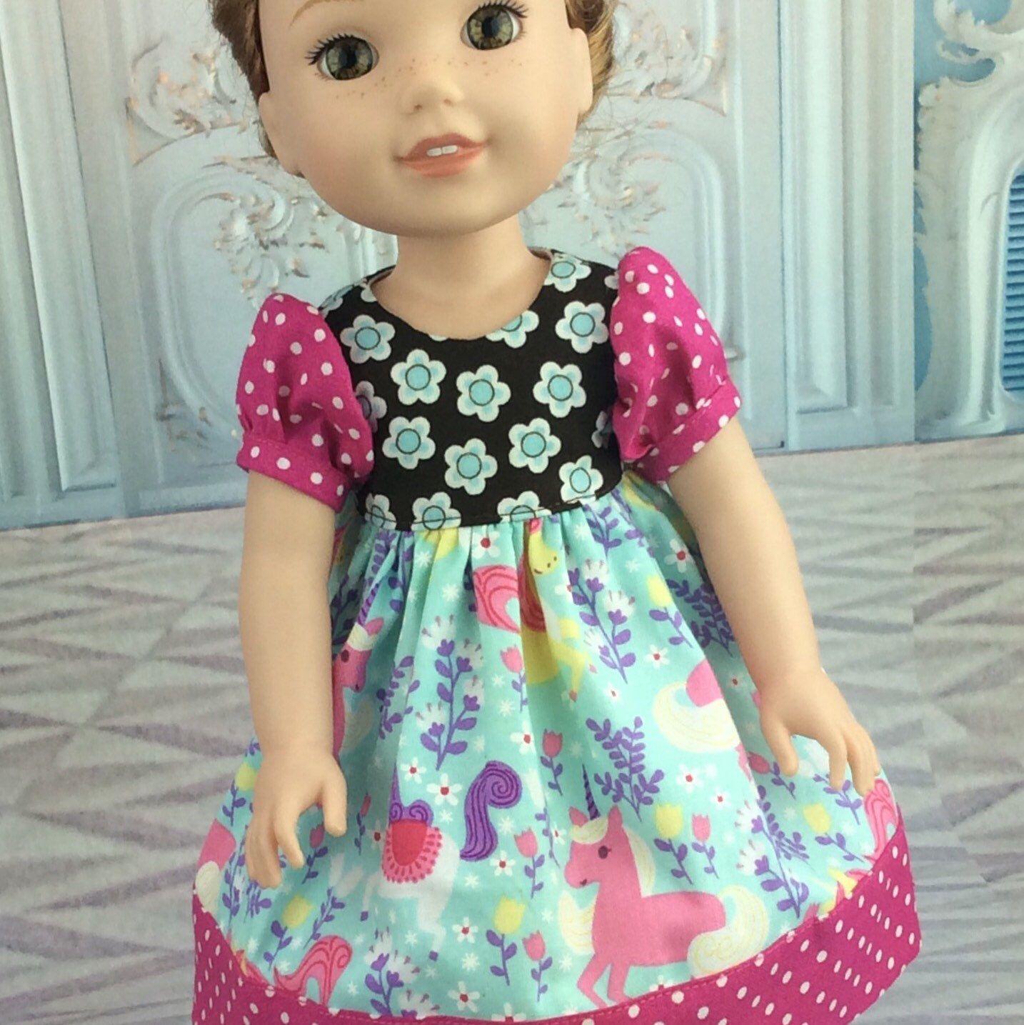 """Dress  Wellie Wishers, 14.5/"""" Doll Wardrobe PATTERN  #2  School Outfit Romper"""