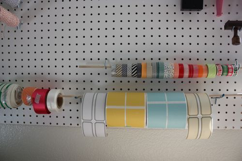 Office Redo Phase One Peg Board Space Crafts Ribbon Holders