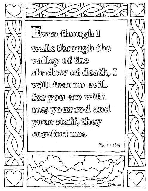 Coloring Pages For Kids By Mr Adron Printable Page Psalm 234 The Valley Of Shadow Death
