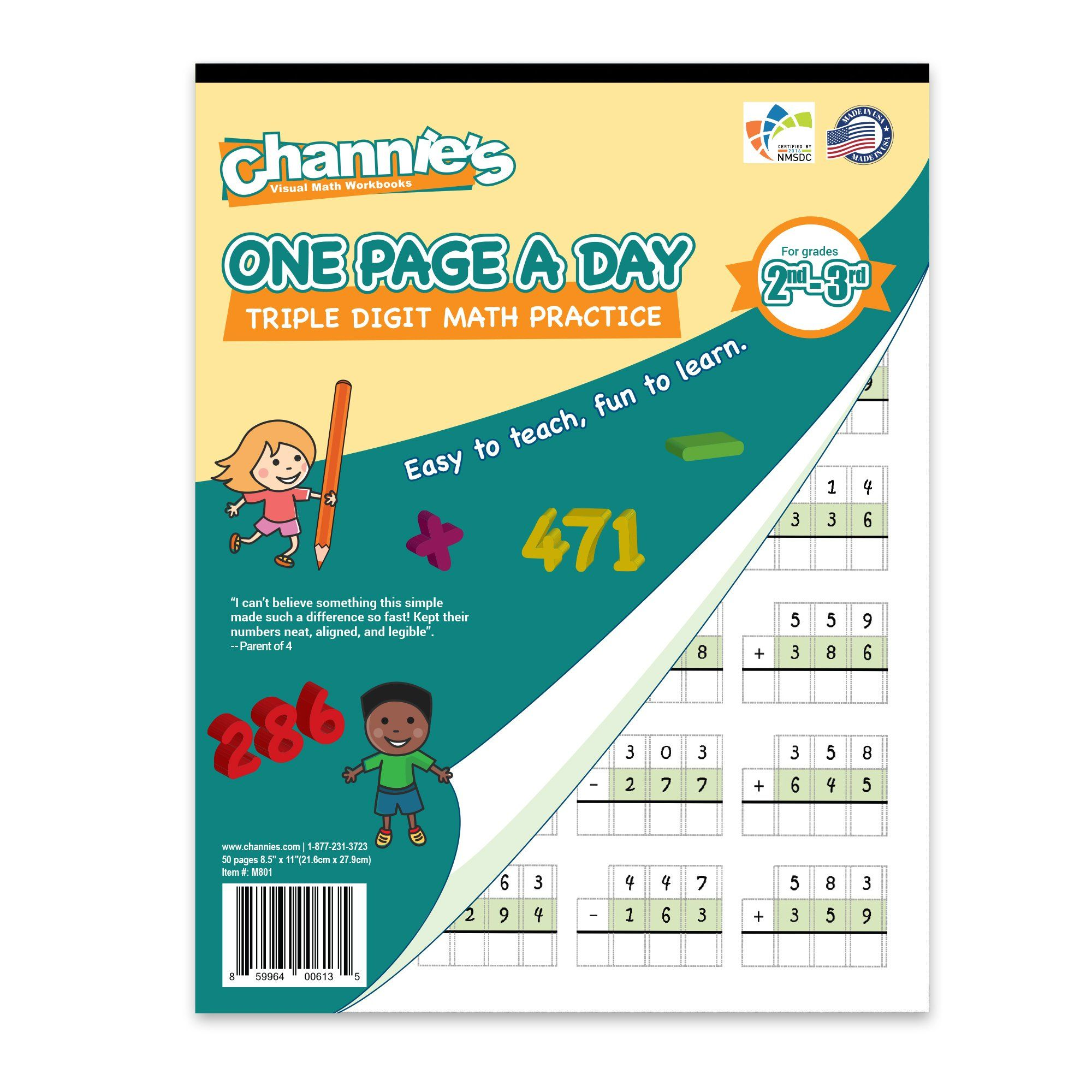 Channie S One Page A Day Triple Digit Math Workbook
