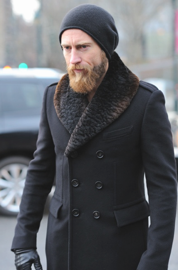 Russian Style Coat With Fur Collar And Bearded Man In