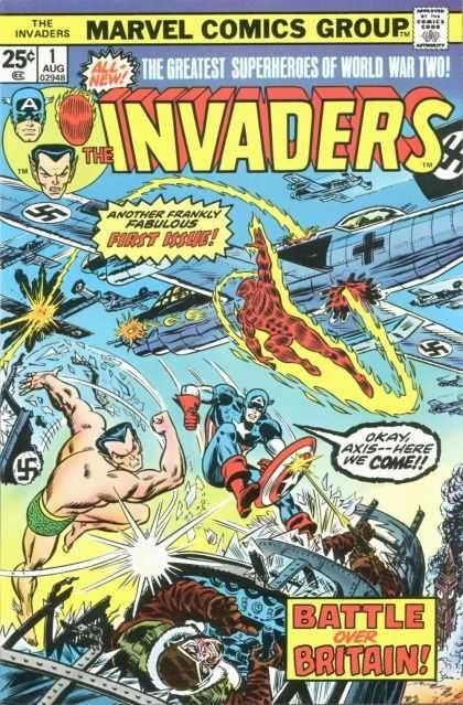 "Tonight's episode: Those 40s heroes in that 70s comic. First-run adventures of Captain America, the original Human Torch, Sub-Mariner and their entourage as a Axis-tilting team. Early issues drawn by Frank Robbins (""Johnny Hazard"")."