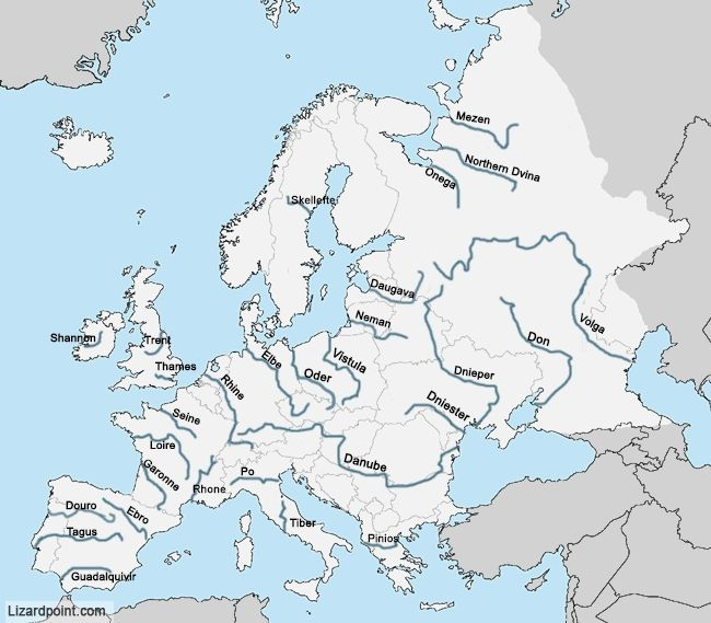 European Physical Map test your geography knowledge europe rivers
